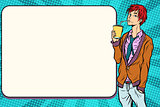 Fashionable hipster young man drinking a beverage, manga anime