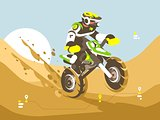 Motorcyclist racing in desert