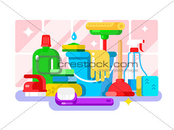 Cleaning tools and detergent in bottle flat design