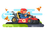 Man riding karting design flat