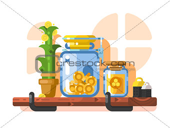 Savings and storage golden coins in glass jar