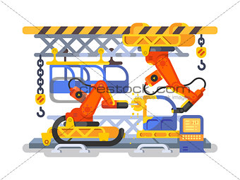 Automatic production in factory using robots