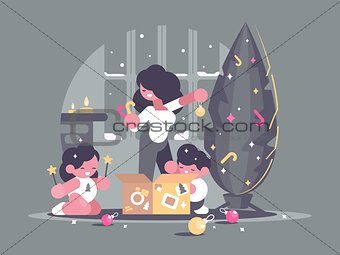 Mother with children decorate Christmas tree