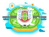 Stadium arena building flat design