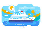 Cruise ship in sea design flat