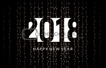 Greeting card for the new year 2018. Garlands background.
