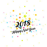 Happy New Year text on background with colorful circles explotion, vector illustration. 2018 year text logo.