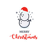 Cute snowman in a New Year hat. Christmas character illustration. New year vector minimalistic logo.
