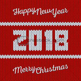 Knit red christmas and new year background. 2018 year textile texture banner, vector illustration.