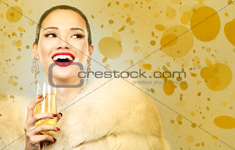 beautiful golden glamour woman