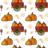 Seamless pattern with  pumpkin, cart and leaves.