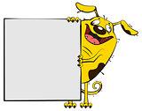 Fun yellow dog show blank white sheet of paper banner