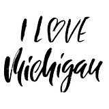 I love Michigan. Modern dry brush lettering. Retro typography print. Vector handwritten inscription. USA state.