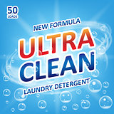 Ultra clean Soap design product. Template for laundry detergent with bubbles on blue. Package design for Liquid Detergents or Washing Powder. Vector illustration
