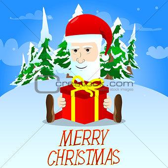 Santa Claus sitting with big Christmas gift box.
