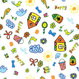 Seamless vector pattern with cute childish hand drawn house, sun, cloud, flowers, birds.