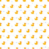 Cute ducky floats on pond seamless vector pattern.