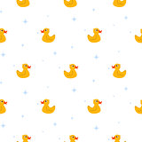 Cute ducks float on pond white seamless vector pattern.