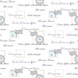Romantic love letters seamless vector pattern on white. Inscriptions wrap paper design with mail stamps.