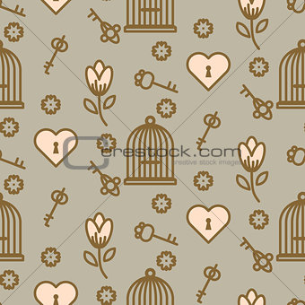 Bird cage romantic seamless vector pattern.