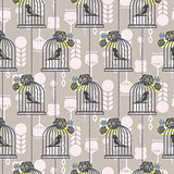 Bird cage romantic seamless vector pattern wallpaper.