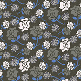 Rose flowers grey and blue floral dark pattern seamless vector.