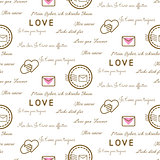 Love letters seamless vector pattern on white. Romantic valentine wrap paper design.