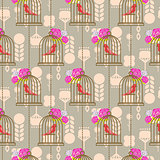 Bird cage romantic seamless vector pattern roses wallpaper.