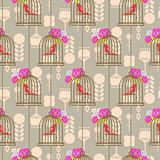 Bird cage romantic seamless vector pattern roses wallpaper.