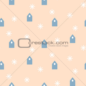 Simple houses shapes on pale pink background.