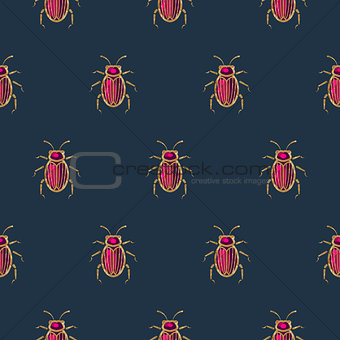 Blue and gold beetle brooch vector seamless pattern.