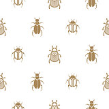 Beetle gold and white vector seamless pattern for print.