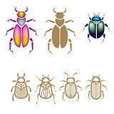 Beetle vector illustration set.