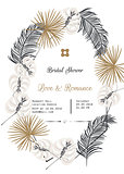 Bridal shower tropic leaves vector template design.