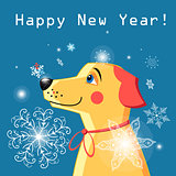 New Year  card with a yellow dog