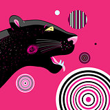 Vector portrait of a black panther