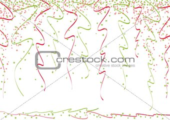 green and red curly ribbons and bright confetti