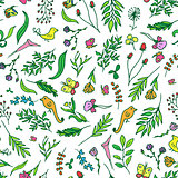 Floral vivid seamless pattern with colorful flowers tropical, butterfly, birds vector