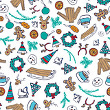 Vector winter seamless pattern with snowman, sweater and snowflakes