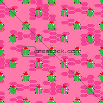 Green beetle on bright pink vector seamless pattern for print.
