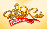 Orange text Winter Sale with red ribbon