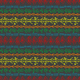 Hand drawn colorful pattern with ethnic motifs