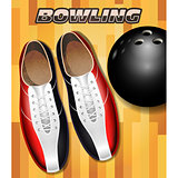 Bowling shoes and ball on bowling court parquet surface