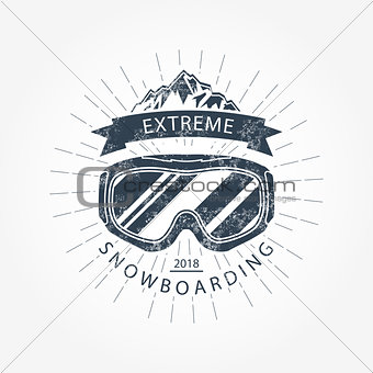 Ski goggles and mountains - ski resort emblem