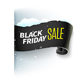 Black Friday sale ribbon and snow