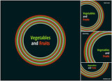 Vector round eco, bio green and red symbol or sign. Vegan, vegetarian, healthy food badge, tag, restaurants