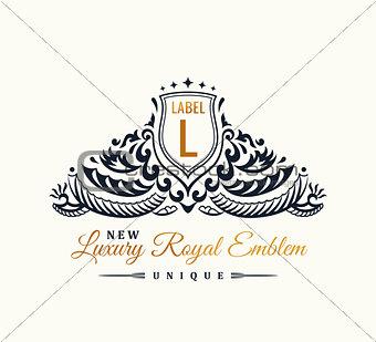 Calligraphic Luxury line Flourishes elegant emblem monogram. Royal vintage divider design