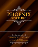 Vintage gold hipster label with lettering Phoenix. Logo template for your sign, poster, clothing, badge