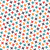 Colorful seamless memphis pattern in bright colors. Mosaic crosses texture