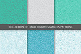 Collection of hand drawn seamless patterns. Colorful curly scribble textures
